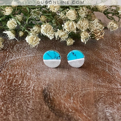 Circle Turquoise and Silver Stud Earrings