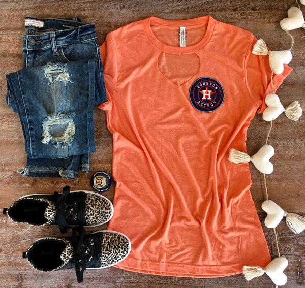 Go Astros Short Sleeve Tee in Orange with Keyhole