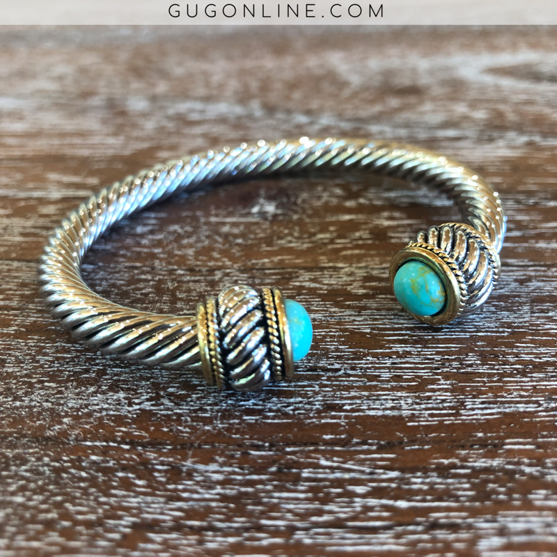 Twisted Silver Cable Bracelet with Turquoise Stone Cabochon Ends