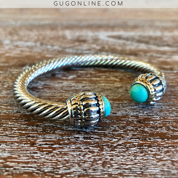 Large Silver Cable Bracelet with Turquoise Stone Cabochon Ends