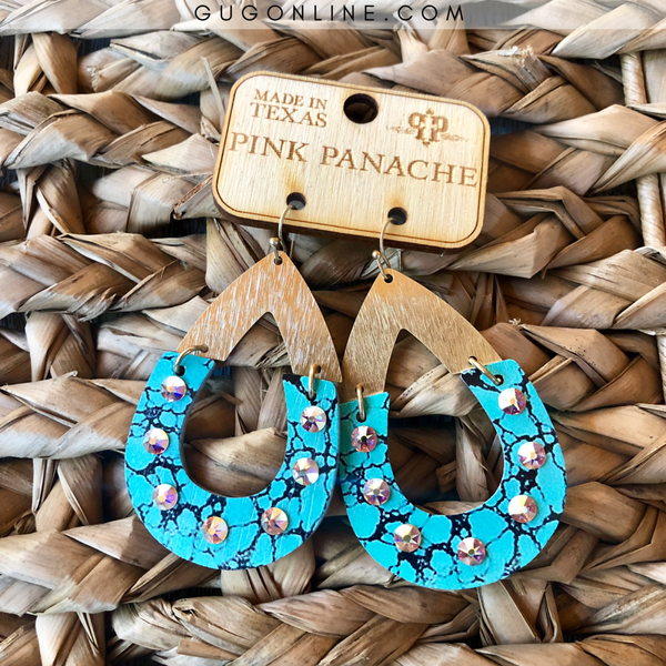 Pink Panache Two Piece Wood Teardrop Earrings in Gold and Veined Turquoise with AB Crystals