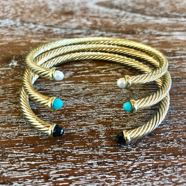 4mm Gold Cable Bracelet with Turquoise Cabochon Ends