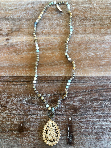 Pink Panache Long Matte Jasper and Crystal Necklace with Santa Fe Crackle Teardrop Pendant in Pearl White