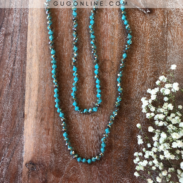 60 Inch Long Layering 8mm Crystal Strand Necklace in Turquoise with Brown