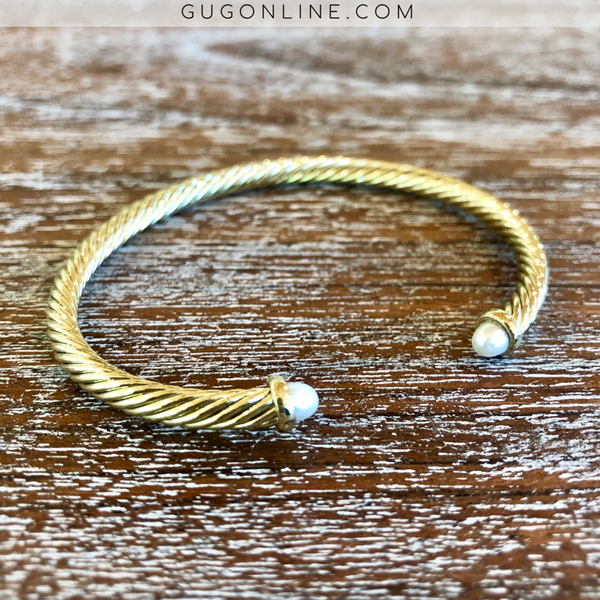 4mm Designer Inspired Gold Cable Bracelet with Pearl Cabochon Ends