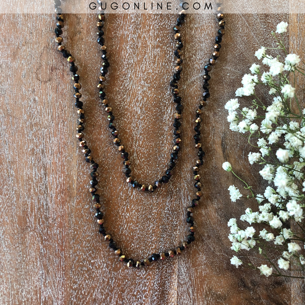 60 Inch Long Layering 6mm Crystal Strand Necklace in Leopard