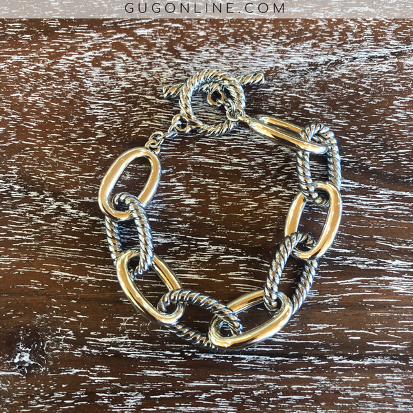 Chain Link Bracelet with Gold and Silver Rope like Links