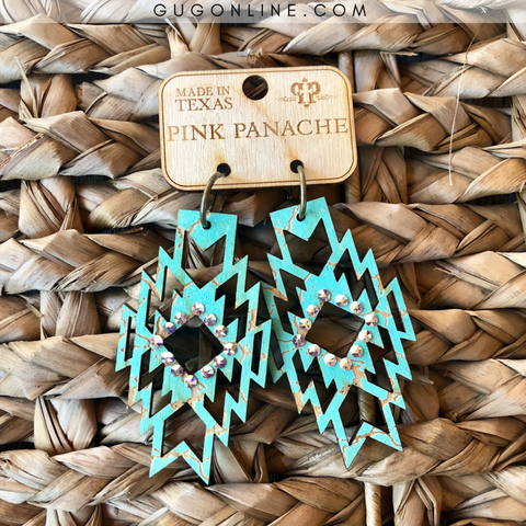 Pink Panache Turquoise Wooden Aztec Earrings with AB Crystals