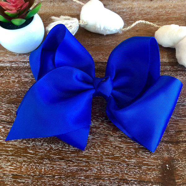 Solid Color Hair Bow in Royal Blue