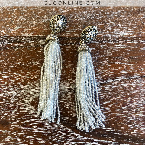 Beaded Tassel Earrings with Crystals in Ivory