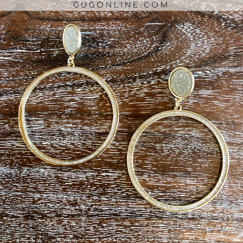 Circle Dangle Earrings with Silver Glitter in Gold