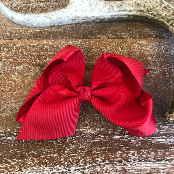 Solid Color Hair Bow in Red