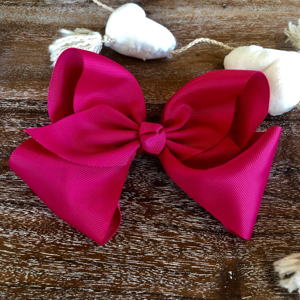 Solid Color Hair Bow in Fuchsia