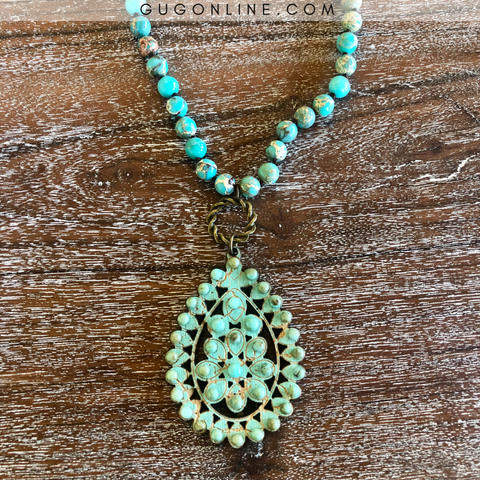 Pink Panache Long Beaded Necklace with Santa Fe Crackle Teardrop Pendant in Turquoise