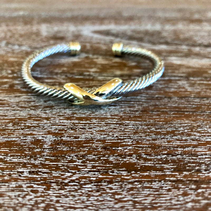 Infinity Silver Cable Bracelet with Gold Cabochon Ends