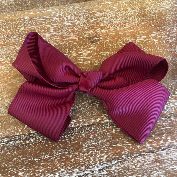 Solid Color Hair Bow in Maroon