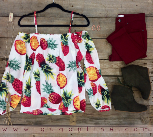 Pineapple of My Eye Cold Shoulder Top