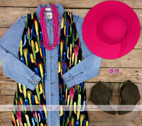 Brave It All Colorful Cactus Duster Vest