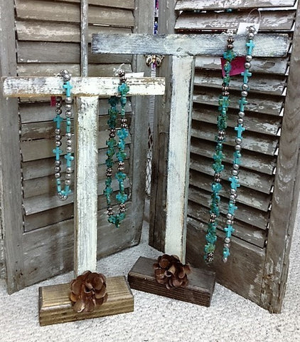 Rustic Handmade Jewelry Bar with Metal Rose