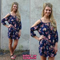 Eternal Bliss Navy Floral Cold Shoulder Tunic