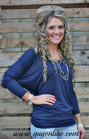 A Spot To Snuggle Navy Slouchy Top