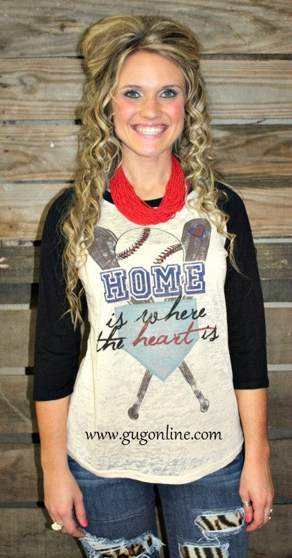 Home Is Where The Heart Is Beige Burnout Baseball Tee with Black Sleeves