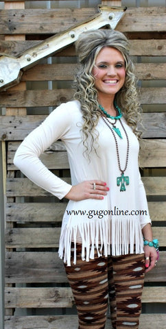 I've Got Fringe in Low Places Taupe Long Sleeve Top