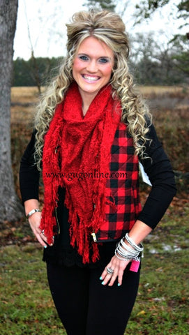 Afternoon Together Red Buffalo Plaid Vest