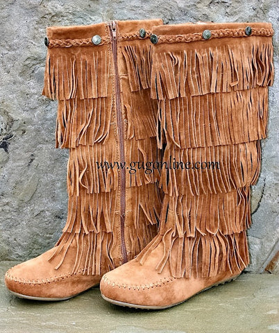 Five Layer Fringe Boots with Metal Embellishments and Braided Topline Tan