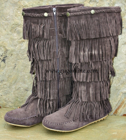 Five Layer Fringe Boots with Metal Embellishments and Braided Topline in Chocolate