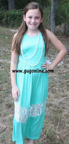 A Little Taste of Lace Children's Maxi Dress in Mint