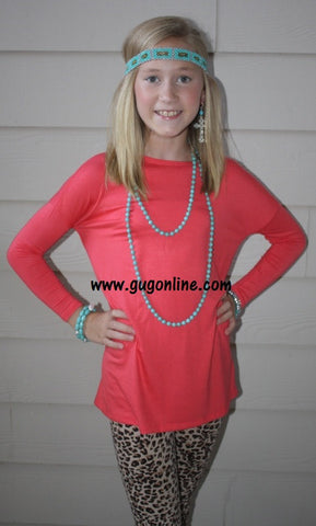 Children's Long Sleeve Piko Top in Coral