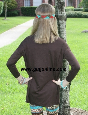 Children's Long Sleeve Piko Top in Chocolate Brown