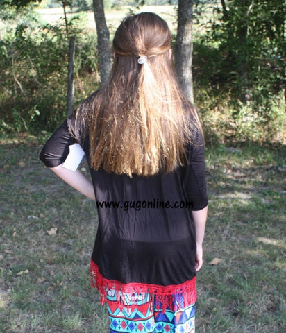 Fancy in Fringe Children's Tunic Top in Black with Red Fringe