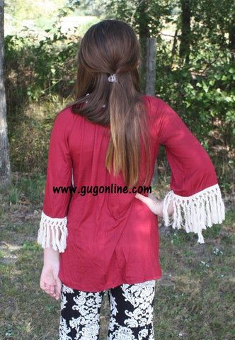 Children's Fascinated By Fringe Tunic Top in Maroon with Ivory Fringe