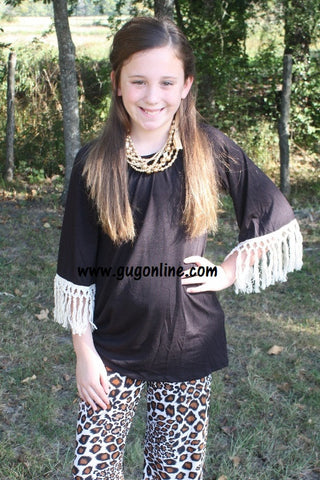 Children's Fascinated By Fringe Tunic Top in Black with Ivory Fringe