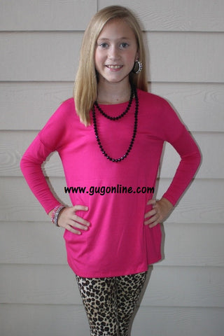 Children's Long Sleeve Piko Top in Hot Pink