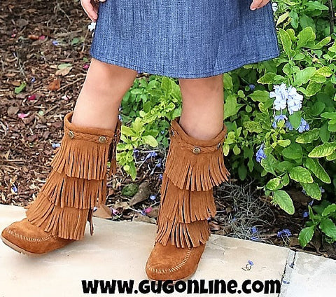 Kid's Five Layer Fringe Boots with Metal Embellishments and Braided Topline in Tan