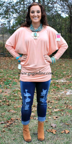 A Spot To Snuggle Peach Slouchy Top
