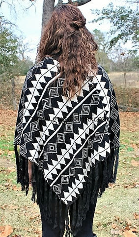 Carried Away Poncho in Black Aztec