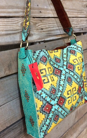 KurtMen Box Tote with Yellow, Red and Santa Fe Turquoise Embossed Aztec