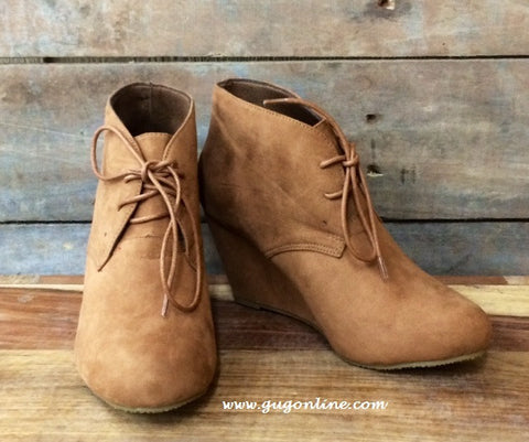 Lace Up Camel Wedge Bootie