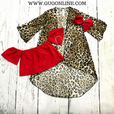 Children's Ferocious Living Lace Kimono in Leopard