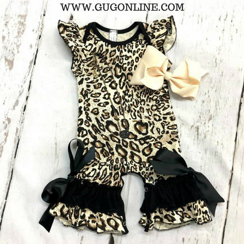 Children's Leopard Printed Romper with Black Trim