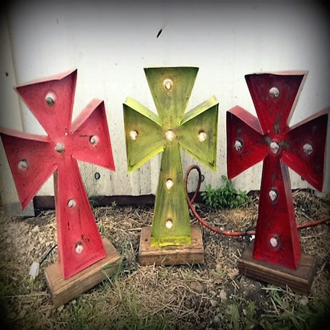 Lighted Rustic Handmade Cross in Brown