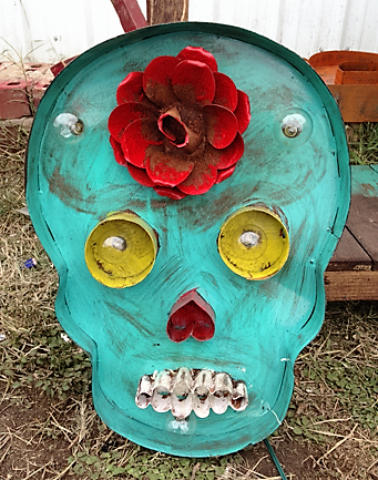 Lighted Rustic Handmade Turquoise Sugar Skull