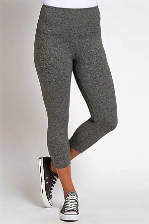 Lysse Premium Tummy Control Capri Length Leggings SALT and PEPPER