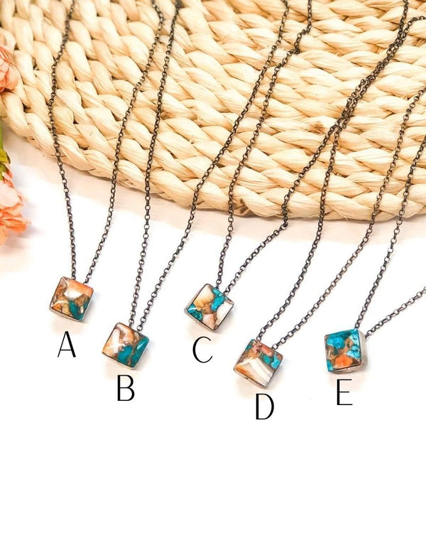 Vernon Kee | Sterling Silver Chain Necklace with Orange Spiny Oyster and Turquoise Mix Square Pendant