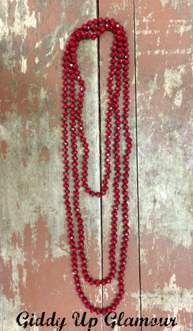 80 Inch Long Strand Crystal Necklace in Maroon