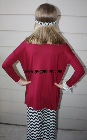 Children's Long Sleeve Piko Top in Maroon